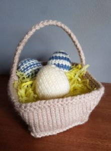 Handmade Knitted Basket and Decorative Knitted Eggs Fitting in Knitting Children Quick Craft Ideas