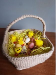 Handmade Knitted Basket and Knitted Eggs With Chicks Fitting in Knitting Children Quick Craft Ideas
