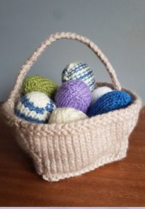 Handmade Knitted Basket of Knitted Eggs Fitting in Knitting Children Quick Craft Ideas