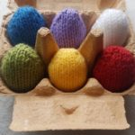 Handmade Knitted Eggs in Eggbox Fitting in Knitting Children Quick Craft Ideas