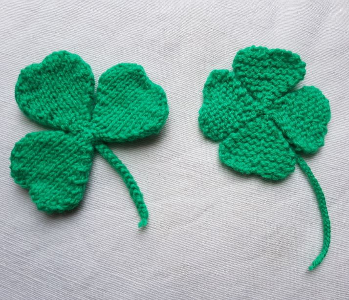 Handmade Knitted Four Leaf Clover and Shamrock Fitting in Knitting Children Quick Craft Ideas