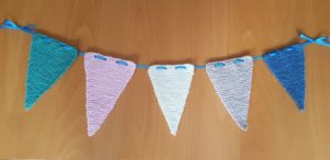 Handmade Knitted Bunting on Table Fitting in Knitting Children Quick Craft Ideas