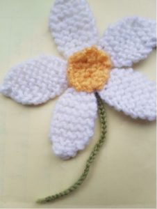 Handmade Knitted Daisy with Stem Fitting in Knitting Children Quick Craft Ideas
