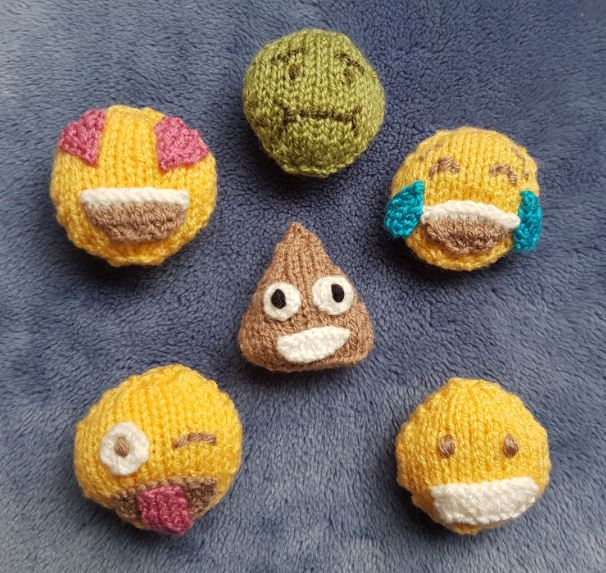 Handmade Knitted Knitted Emojis Together Fitting in Knitting Children Quick Craft Ideas
