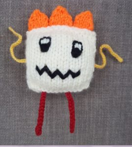 Handmade Knitted Monster Caitlin Finsihed Fitting in Knitting Children Quick Craft Ideas