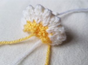 Handmade Knitted Primrose Flower Piece Fitting in Knitting Children Quick Craft Ideas
