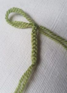 Handmade Knitted Primrose Flower Stem Fitting in Knitting Children Quick Craft Ideas