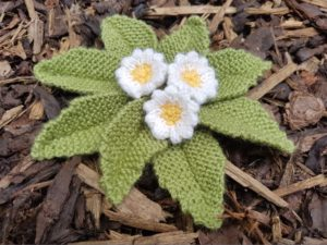 Handmade Knitted Primrose Plant Completed Fitting in Knitting Children Quick Craft Ideas