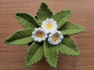 Handmade Knitted Primrose Plant In Pot Fitting in Knitting Children Quick Craft Ideas