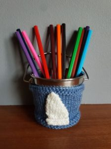 Handmade Knitted Bucket Cover 11th Anniversary Gift Fitting in Knitting Children Quick Craft Ideas