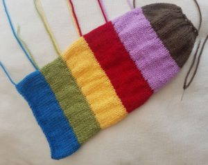 Handmade Knitted Caterpillar Body Piece Fitting in Knitting Children Quick Craft Ideas