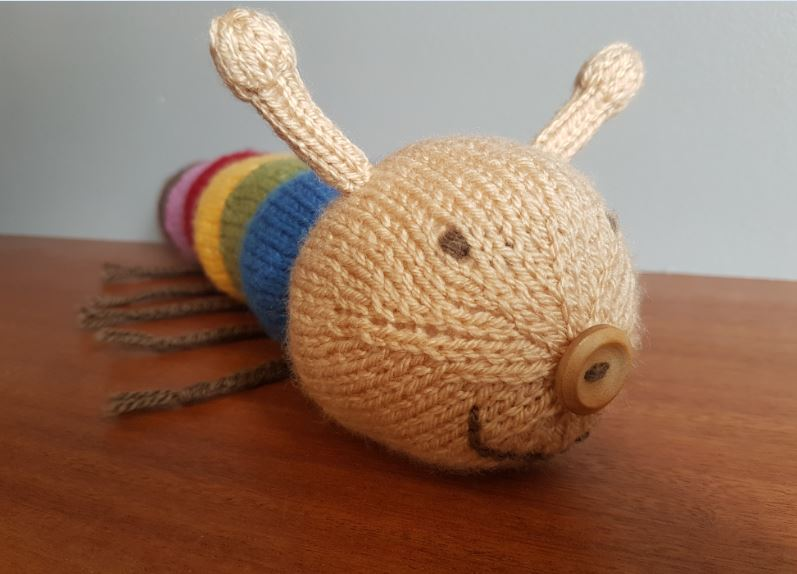 Handmade Knitted Caterpillar Finished Face View Fitting in Knitting Children Quick Craft Ideas