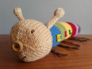 Handmade Knitted Caterpillar Front Side View Fitting in Knitting Children Quick Craft Ideas