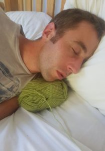 Sam Sleeping on my Wool Fitting in Knitting Children Quick Craft Ideas