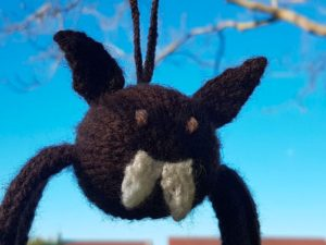 Handmade Knitted Bat Face Fitting in Knitting Children Craft Ideas