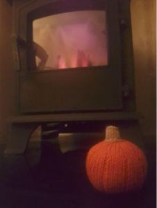 Handmade Knitted Halloween Pumpkin By the Fire Fitting in Knitting Children Craft Ideas