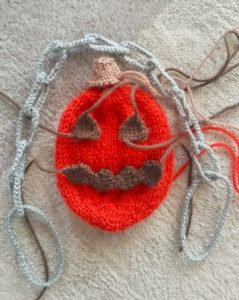 Handmade Knitted Halloween Pumpkin Face Options Fitting in Knitting Children Craft Ideas