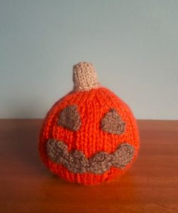 Handmade Knitted Halloween Pumpkin Scary Fitting in Knitting Children Craft Ideas