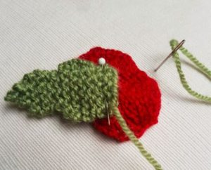 Handmade Knitted Poppy Stocking Sewing Leaf Fitting in Knitting Children Craft Ideas