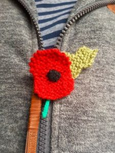 Handmade Knitted Poppy Wearing Zip Fitting in Knitting Children Craft Ideas