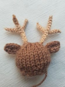 Handmade Knitted Reindeer Sewing Ears Fitting in Knitting Children Quick Craft Ideas