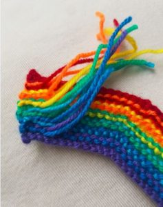 Handmade Knitted Rainbow Ends Fitting in Knitting Children Craft Ideas