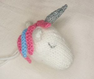 Handmade Knitted Unicorn Head Completed Fitting in Knitting Children Craft Ideas