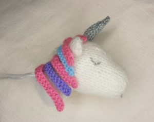 Handmade Knitted Unicorn Head Neck Completed Side Fitting in Knitting Children Craft Ideas