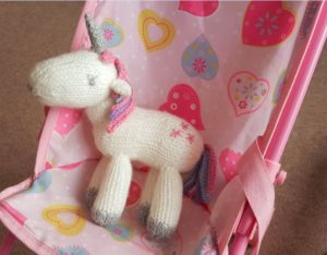 Handmade Knitted Unicorn Pushchair 2 Fitting in Knitting Children Craft Ideas