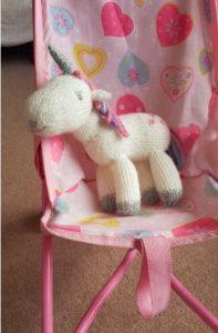 Handmade Knitted Unicorn Pushchair Fitting in Knitting Children Craft Ideas
