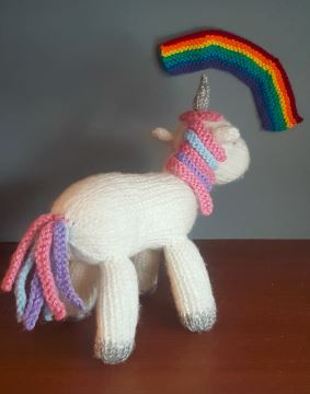 Handmade Knitted Unicorn Rainbow Fitting in Knitting Children Craft Ideas
