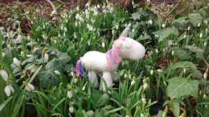 Handmade Knitted Unicorn Snowdrops 2 Fitting in Knitting Children Craft Ideas
