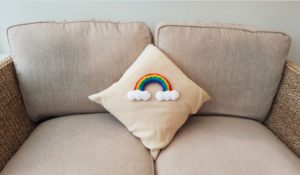 Handmade Knitted Rainbow Finished Cushion Fitting in Knitting Children Craft Ideas