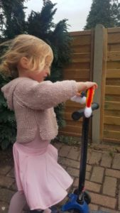 Handmade Knitted Rainbow Scooter Fitting in Knitting Children Craft Ideas