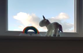 Handmade Knitted Unicorn Rainbow Windowsill Fitting in Knitting Children Craft Ideas