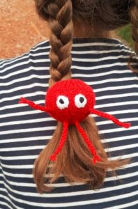 Handmade Knitted Red Nose Legs Hairband Fitting in Knitting Children Craft Ideas