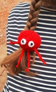 Handmade Knitted Red Nose with Legs Hairband Fitting in Knitting Children Craft Ideas