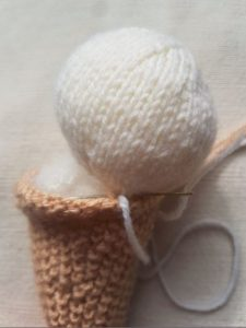 Handmade Knitted Ice Cream Sew Up Fitting in Knitting
