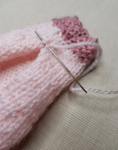 Handmade-Knitted-Flamingo-Body-Piece-Sewing-Up-Fitting-in-Knitting