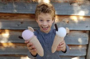 Handmade Knitted Ice Creams with Charlie Fitting-in-Knitting