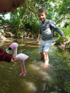 Knitted Flamingo Going-for-a-dip fitting-in-knitting