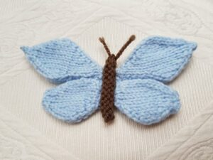 Handmade Knitted Butterfly Finished Blue Fitting-in-Knitting