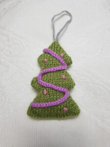 Handmade Knitted Christmas Tree Hanging Fitting-in-Knitting