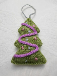 Handmade Knitted Christmas Tree Hanging Up Fitting-in-Knitting