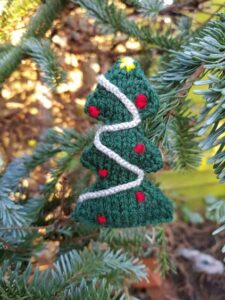 Handmade Knitted Christmas Tree Small Hanging Fitting-in-Knitting