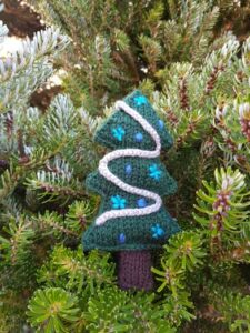 Handmade Knitted Christmas Tree in Tree Fitting-in-Knitting