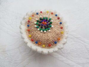 Handmade Knitted Pin Cushion Cupcake Fitting-in-Knitting
