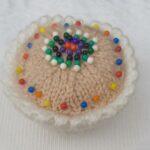 Handmade Knitted Pin Cushion Cupcake Pincake Fitting-in-Knitting