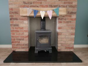 Handmade Quick Knitted Bunting in Fireplace Fitting-in-Knitting