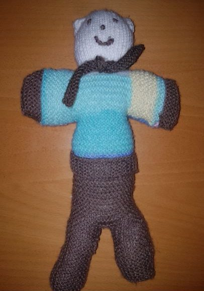 handmade children fitting in knitting character bear